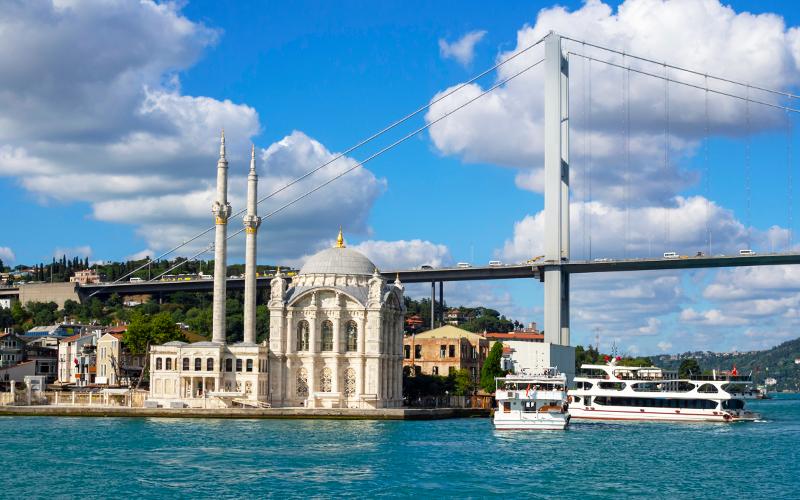 Ortaköy Camisi ve arkada Boğaz Köprüsü