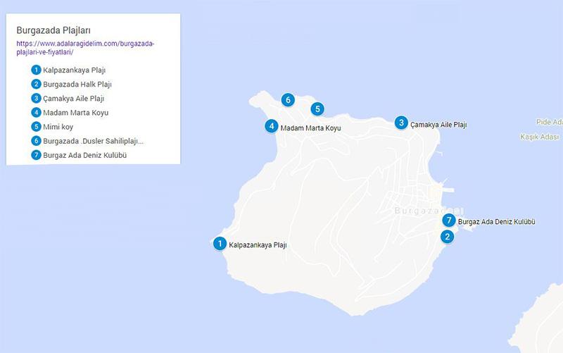 burgazada plaj haritasi