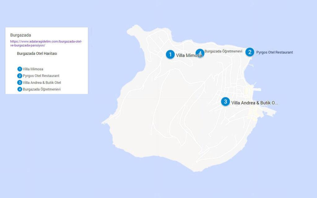 burgazada otel pansiyon haritasi